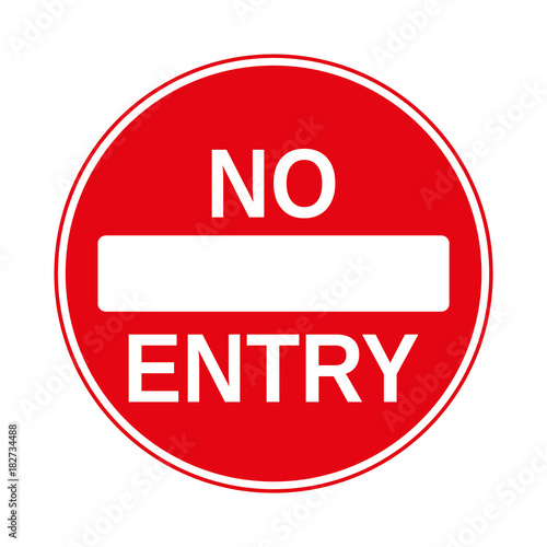 No Entry Traffic Sign, isolated on the white, illustration vector Canvas Print