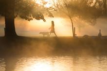Woman Walking Dog In Autumn Fa...
