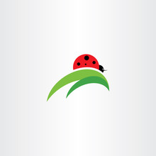 Ladybug On Leaf Logo Icon Vector