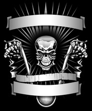 Biker Skeleton Riding Motorcyc...