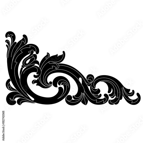 Fototapety, obrazy: Vintage baroque ornament, corner. Retro pattern antique style acanthus. Decorative design element filigree calligraphy vector. - stock vector