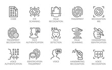 Line Icons Of Identity Biometric Verification Sign. 15 Web Label Of Authentication Technology In Mobile Phones, Smartphones And Other Devices. Vector Logo Or Button Isolated On White Background