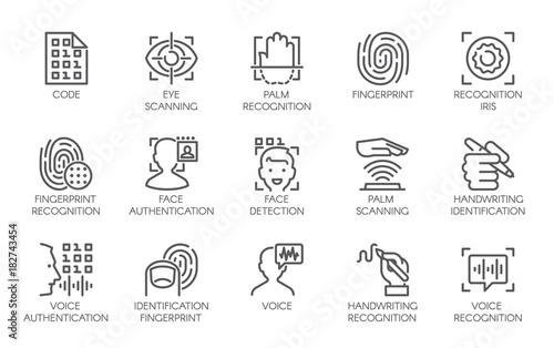 Line icons of identity biometric verification sign Canvas Print