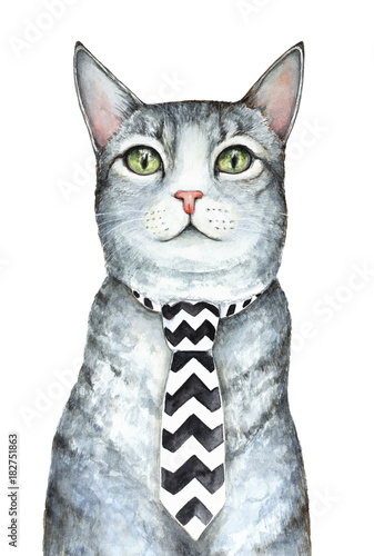 Gray cat character wearing mens neck tie with black and white ...