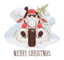 Christmas Card -- Santa Biker ...