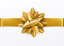 Gold Gift Bow With Horizontal ...
