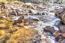 Closeup Of Shallow Rock Stream...