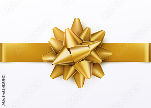 gold gift bow with horizontal ribbon isolated on white background