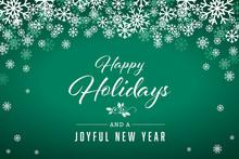 Green Happy Holidays And Joyful New Year Vector Illustration 1
