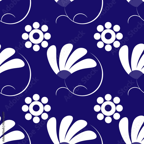 Pattern Con Fiori Bianchi Su Sfondo Blu Buy This Stock