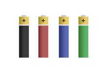Pilas De Color Negro, Rojo, Azul Y Verde.