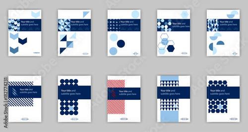 Stampa su Tela Blue set of 10 A4 Business Book Cover Design Templates