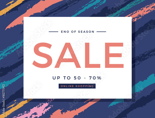 Fototapety, obrazy: Sale ads for poster banner social media, print advertising design, Luxury and unique premium style, colorful color, Abstract Background brush texture, Vector illustration