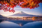 Fototapeta Krajobraz - Colorful Autumn Season and Mountain Fuji with morning fog and red leaves at lake Kawaguchiko is one of the best places in Japan