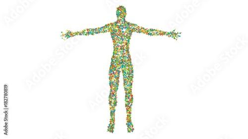 Microbiome , microorganisms, bacteria, viruses, microbes crawling , reproducing, multiplying , living on human Fototapete