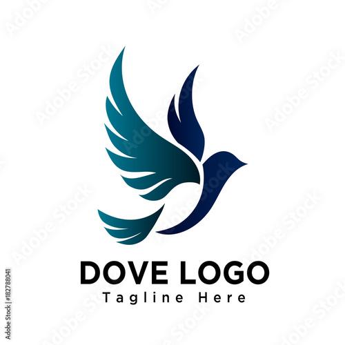 Obraz na plátně Art dove bird flying logo