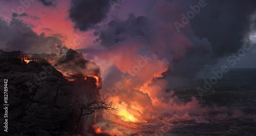 Fotografie, Obraz Beautiful volcanic landscape with orange lava flowing into the ocean water, rock
