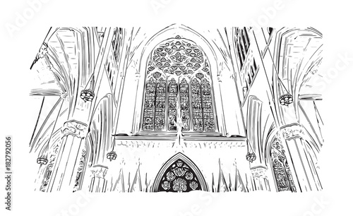 Keuken foto achterwand Art Studio Sketch illustration of Cathedral of Saint John the Divine, New York, USA (United States of America) in vector.