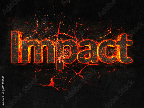Foto  Impact Fire text flame burning hot lava explosion background.