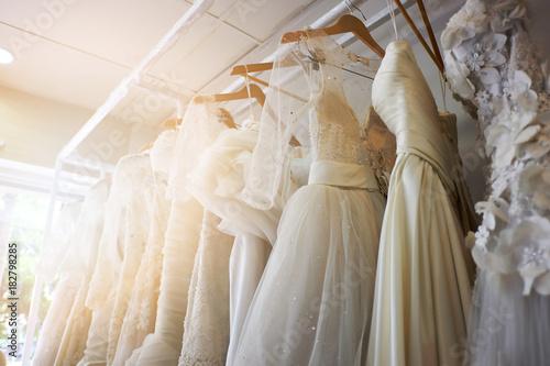 Fotografía  Beautiful bridal dress on hangers