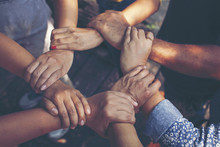 Team Work Concept : Group Of Diverse Hands Together Cross Processing Of Young People In The Nature