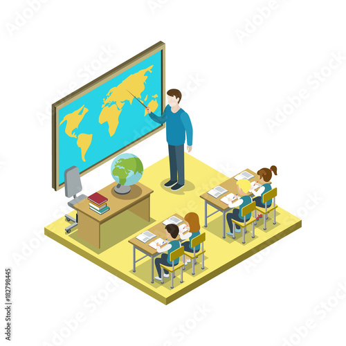 Fotografia  Geography lesson at school isometric icon