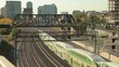 Time lapse of green double decker trains passing by in the city of Toronto. Province of Ontario, Canada