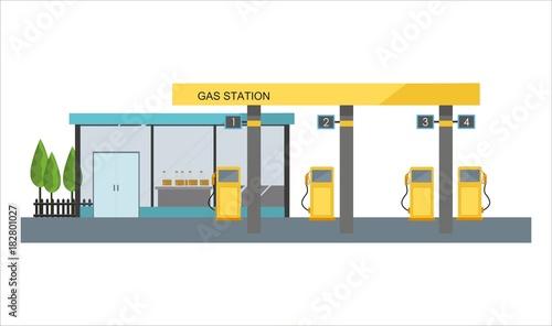 Valokuva Gas filling station on white background