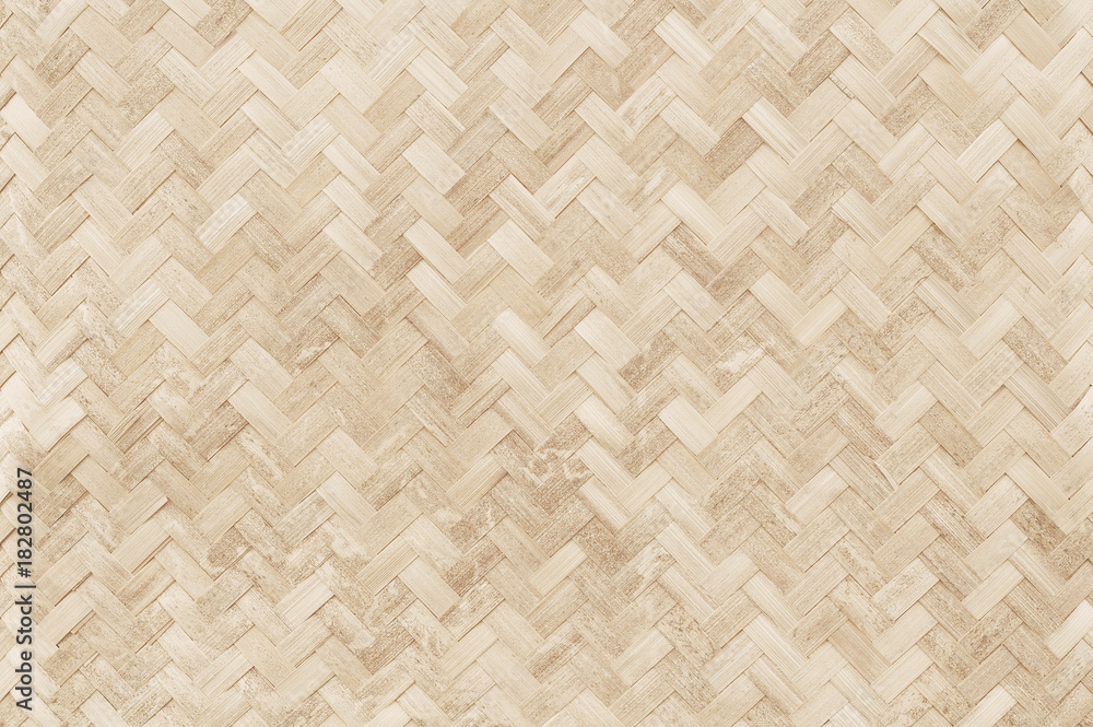 Fototapety, obrazy: Old bamboo weaving pattern, woven rattan mat texture for background and design art work.