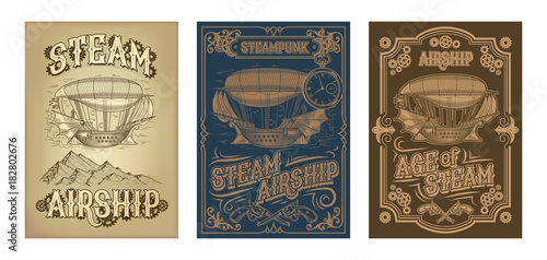 Fototapeta Set vector steampunk posters, illustrations of a fantastic wooden flying ship in the style of engraving with decorative frame of gears and pistols