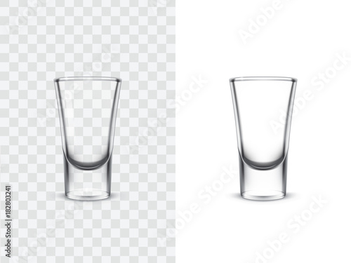 Valokuvatapetti Realistic shot glasses for alcoholic drinks, vector illustration isolated on white and transparent background