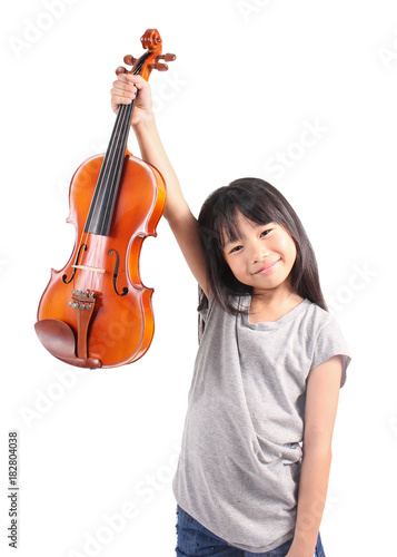 Fotomural Little asian girl holding the violin isolated on white background, education mus