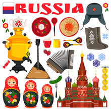 Russia Famous Items Icons Vect...