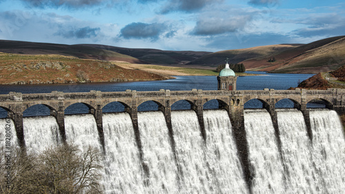 Craig Goch, the highest upstream of the series of dams in the Elan Valley, Wales Canvas Print