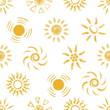 Seamless pattern of Hand drawn chalk Suns