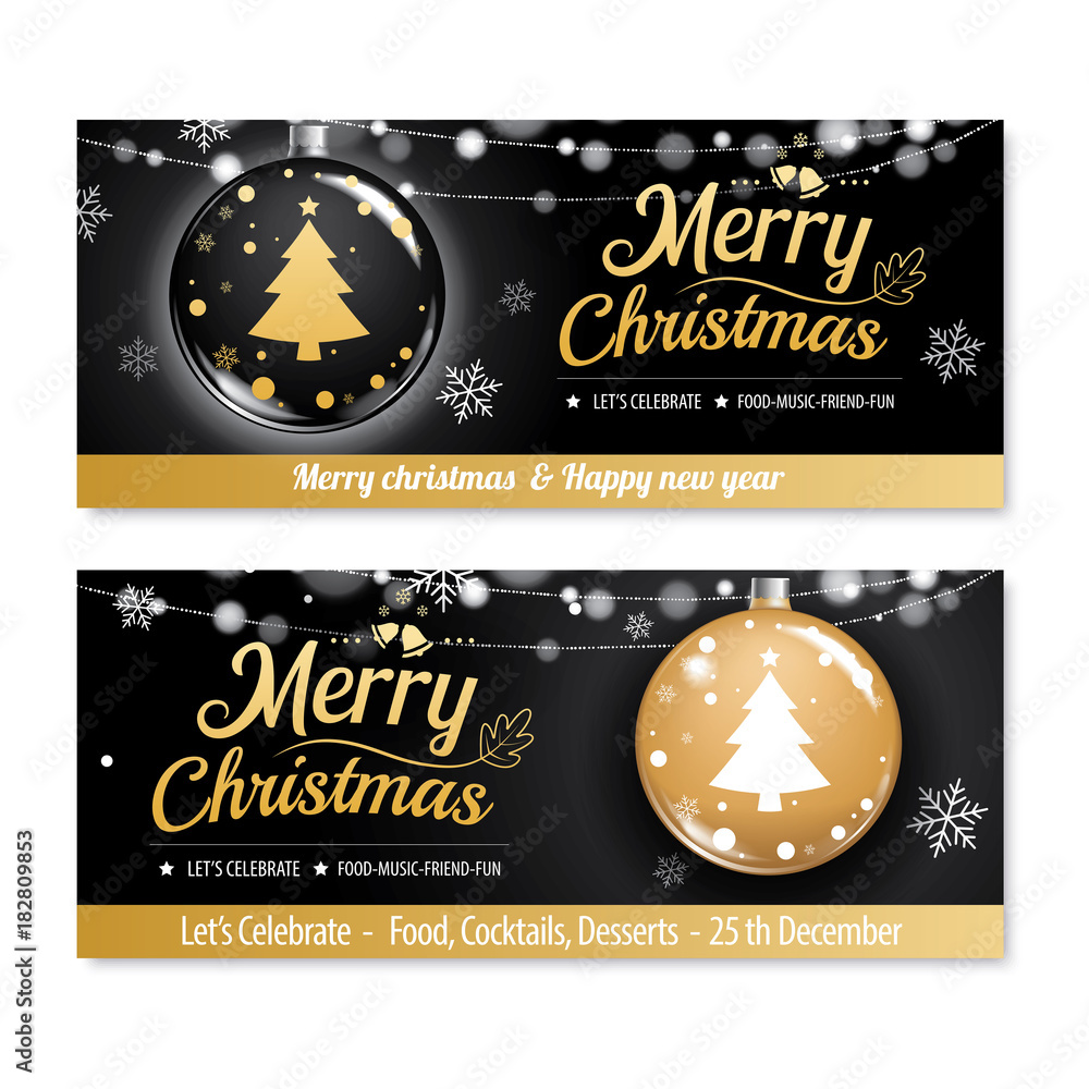 Obraz Invitation Merry Christmas Party Poster Banner And