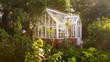 Leinwandbild Motiv Gewächshaus im englischen Garten Stil