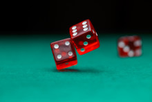 Photo Of Dice Falling On Green...