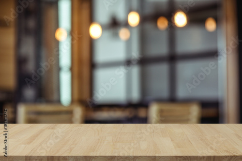 Fototapeta Empty wooden table top with view of room or wooden desk with copy space for your text obraz