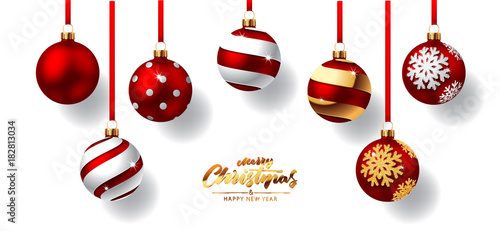 Fotobehang Bol Christmas balls with red ribbon