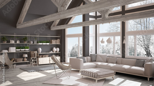 Fototapeta Living room of luxury eco house, parquet floor and wooden roof trusses, panoramic window on winter meadow, modern white and gray interior design obraz na płótnie