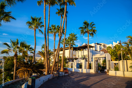 In de dag Beautiful view over traditional house architecture and palm trees illuminated by sunset light in Tenerife, Adeje Coast, Spain