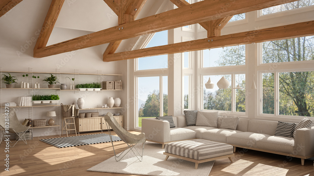 Fototapeta Living room of luxury eco house, parquet floor and wooden roof trusses, panoramic window on summer spring meadow, modern white interior design - obraz na płótnie