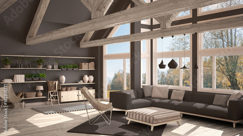Fototapeta Living room of luxury eco house, parquet floor and wooden roof trusses, panoramic window on autumn meadow, modern white and gray interior design obraz na płótnie