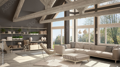 Fototapeta Living room of luxury eco house, parquet floor and wooden roof trusses, panoramic window on summer spring meadow, modern white and gray interior design obraz na płótnie