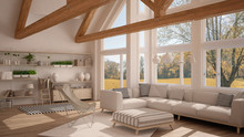 Living Room Of Luxury Eco House, Parquet Floor And Wooden Roof Trusses, Panoramic Window On Autumn Meadow, Modern White Interior Design