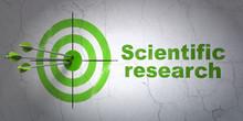 Success Science Concept: Arrows Hitting The Center Of Target, Green Scientific Research On Wall Background, 3D Rendering