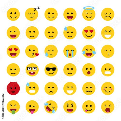 Set of cute smiley emoticons, flat design, vector illustration Canvas Print