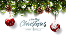 Christmas Background With Fir Branches And Red Balls With Snow. Vector Illustration