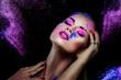 canvas print picture - Buntes Make-up - Frau - Gesicht - Holi - Farben - kreativ - Pulver